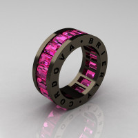 Mens Modern 14K Black Gold Pink Sapphire Channel Cluster Infinity Wedding Band R174-14BGPS-1