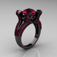 Cleopatra - French Vintage 14K Black Gold 3.0 CT Raspberry Red Garnet Pisces Wedding Ring Engagement Ring Y228-14KBGRRG-1