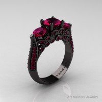 14K Black Gold Three Stone Black Diamond Raspberry Red Garnet Solitaire Ring R200-14KBGRRG-1