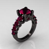 Modern Vintage 14K Black Gold 3.0 Carat Raspberry Red Garnet Designer Wedding Ring R142-14KBGRRG-1