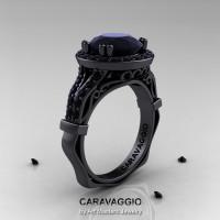 Caravaggio 14K Black Gold 3.0 Ct Black Diamond Engagement Ring Wedding Ring R620-14KBBD-1