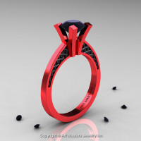 Modern Armenian 14K Red Gold Black Gold Lace 1.0 Ct Black Diamond Solitaire Engagement Ring R308-14KREGBGBD-1