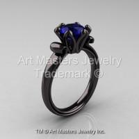Modern Antique 14K Black Gold 1.5 Carat Blue Sapphire Solitaire Engagement Ring AR127-14KBGBS-1