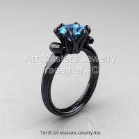 Modern Antique 14K Black Gold 1.5 Carat Swiss Blue Topaz Solitaire Engagement Ring AR127-14KBGSBT-1