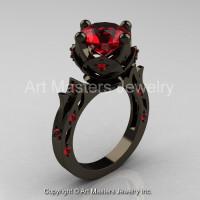 Modern Antique 14K Black Gold 3.0 Carat Ruby Solitaire Wedding Ring R214W-14KBGR-1