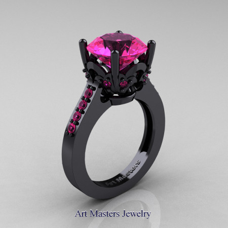 Classic-14K-Black-Gold-3-0-Carat-Pink-Sapphire-Solitaire-Wedding-Ring-R301-14KBGPS-P