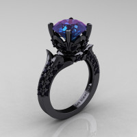 Classic French 14K Black Gold 3.0 Ct Chrysoberyl Alexandrite Black Diamond Solitaire Wedding Ring R401-14KBGBDAL Perspective
