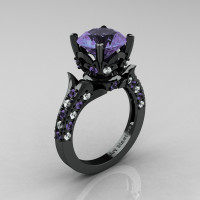 Classic French 14K Black Gold 4.0 Carat Light Tanzanite Diamond Solitaire Wedding Ring R401-14KBGDLTT Perspective