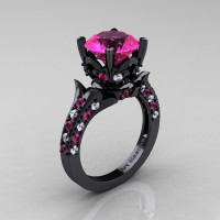 Classic French 14K Black Gold 3.0 Carat Pink Sapphire Diamond Solitaire Wedding Ring R401-14KBGDPSS - Perspective