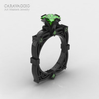 Art Masters Caravaggio 14K Black Gold 1.5 Ct Princess Peridot Engagement Ring R630-14KBGP