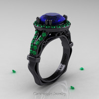Caravaggio 14K Black Gold 3.0 Ct Blue Sapphire Emerald Engagement Ring Wedding Ring R620-14KBGEMBS