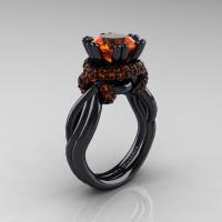 High Fashion 14K Black Gold 3.0 Ct Orange Sapphire Knot Engagement Ring R390-14KBGOS