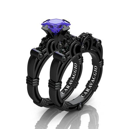Art Masters Caravaggio 14K Black Gold 1.25 Ct Princess Tanzanite Black Diamond Engagement Ring Wedding Band Set R623PS-14KBGBDT