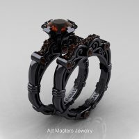 Art Masters Caravaggio 14K Black Gold 1.0 Ct Brown Diamond Engagement Ring Wedding Band Set R623S-14KBGBRD
