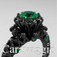 Caravaggio Lace 14K Black Gold 1.0 Ct Emerald Engagement Ring R634-14KBGEM
