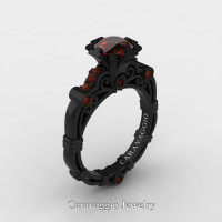 Caravaggio 14K Black Gold 1.0 Ct Brown Diamond Engagement Ring R623-14KBGBRD