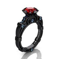 Caravaggio 14K Black Gold 1.0 Ct Ruby Aquamarine Engagement Ring R623-14KBGAQR