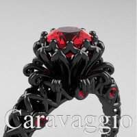Caravaggio Lace 14K Black Gold 1.0 Ct Ruby Engagement Ring R634-14KBGR