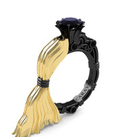 Caravaggio Luxury Italian 14K Yellow and Black Gold 1.0 Ct Black Diamond Engagement Ring R643E-14KYBGBD