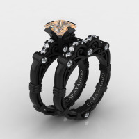 Art Masters Caravaggio 14K Black Gold 1.25 Ct Princess Champagne and White Diamond Engagement Ring Wedding Band Set R623PS-14KBGDCHD