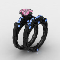 Art Masters Caravaggio 14K Black Gold 1.25 Ct Princess Light Pink and Blue Sapphire Engagement Ring Wedding Band Set R623PS-14KBGLBSLPS