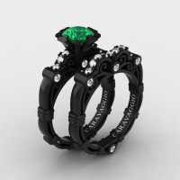Art Masters Caravaggio 14K Black Gold 1.0 Ct Emerald Diamond Engagement Ring Wedding Band Set R623S-14KBGDEM