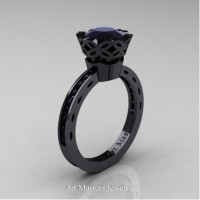 Classic Armenian 14K Black Gold 1.0 Ct Black Diamond Solitaire Engagement Ring AR140-14KBGBD