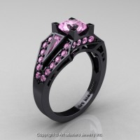 Edwardian 14K Black Gold 1.0 Ct Light Pink Sapphire Engagement Ring R285-14KBGLPS