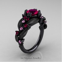 Nature Inspired 14K Black Gold 1.0 Ct Rose Ruby Light Pink Sapphire Leaf and Vine Engagement Ring R340S-14KBGLPSRR
