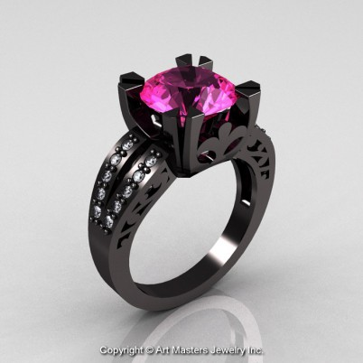A-Modern-Vintage-Black-Gold-Pink-Sapphire-Black-Diamond-Solitaire-Ring-R102-BGDPS-P-402×402