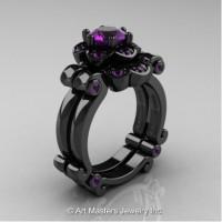Caravaggio 14K Black Gold 1.0 Ct Amethyst Engagement Ring Wedding Band Set R606S-14KBGAM
