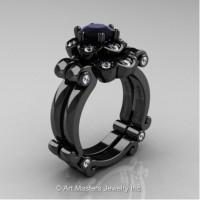 Caravaggio 14K Black Gold 1.0 Ct Black and White Diamond Engagement Ring Wedding Band Set R606S-14KBGDBD