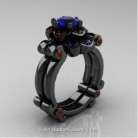 Caravaggio 14K Black Gold 1.0 Ct Bue Sapphire Brown Diamond Engagement Ring Wedding Band Set R606S-14KBGBRDBS