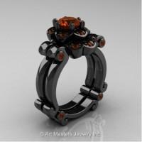 Caravaggio 14K Black Gold 1.0 Ct Brown Diamond Engagement Ring Wedding Band Set R606S-14KBGBRD