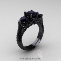 Classic 14K Black Gold Three Stone Black Diamond Designer Solitaire Ring R200-14KBGBD