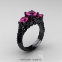 Classic 14K Black Gold Three Stone Pink Sapphire Black Diamond Designer Solitaire Ring R200-14KBGBDPS