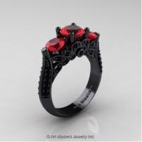Classic 14K Black Gold Three Stone Ruby Black Diamond Designer Solitaire Ring R200-14KBGBDR