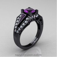Classic Edwardian 14K Black Gold 1.0 Ct Amethyst Diamond Engagement Ring R285-14KBGDAM
