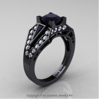 Classic Edwardian 14K Black Gold 1.0 Ct Black and White Diamond Engagement Ring R285-14KBGDBD