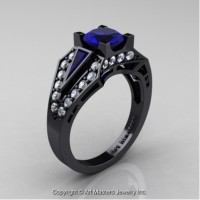Classic Edwardian 14K Black Gold 1.0 Ct Blue Sapphire Diamond Engagement Ring R285-14KBGDBS