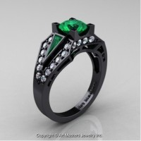 Classic Edwardian 14K Black Gold 1.0 Ct Emerald Diamond Engagement Ring R285-14KBGDEM