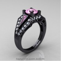 Classic Edwardian 14K Black Gold 1.0 Ct Light Pink Sapphire Diamond Engagement Ring R285-14KBGDLPS