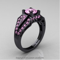 Classic Edwardian 14K Black Gold 1.0 Ct Light Pink Sapphire Engagement Ring R285-14KBGLPS