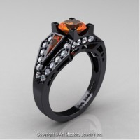 Classic Edwardian 14K Black Gold 1.0 Ct Orange Sapphire Diamond Engagement Ring R285-14KBGDOS