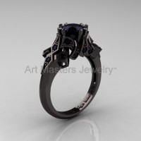 Edwardian 14K Black Gold 1.0 CT Black Diamond Engagement Ring Wedding Ring R231-14KBGBD
