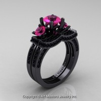 French 14K Black Gold Three Stone Pink Sapphire Black Diamond Engagement Ring Wedding Band Bridal Set R182S-14KBGBDPS
