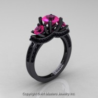 Gorgeous 14K Black Gold Three Stone Pink Sapphire Black Diamond Engagement Ring Wedding Ring R182-14KBGBDPS