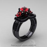 French 14K Black Gold Three Stone Ruby Black Diamond Engagement Ring Wedding Band Bridal Set R182S-14KBGBDR