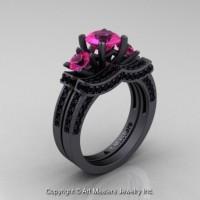 Exclusive 14K Matte Black Gold Three Stone Pink Sapphire Black Diamond Engagement Ring Wedding Band Bridal Set R182S-14KMBGBDPS