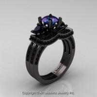 French 14K Black Gold Three Stone Russian Alexandrite Black Diamond Engagement Ring Wedding Band Bridal Set R182S-14KBGBDAL
